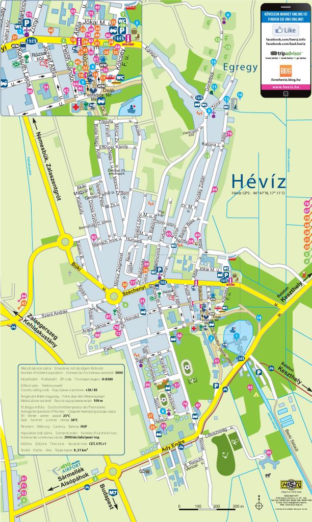hévíz térkép Hévíz város térképe   Gróf I. Festetics György Művelődési Központ